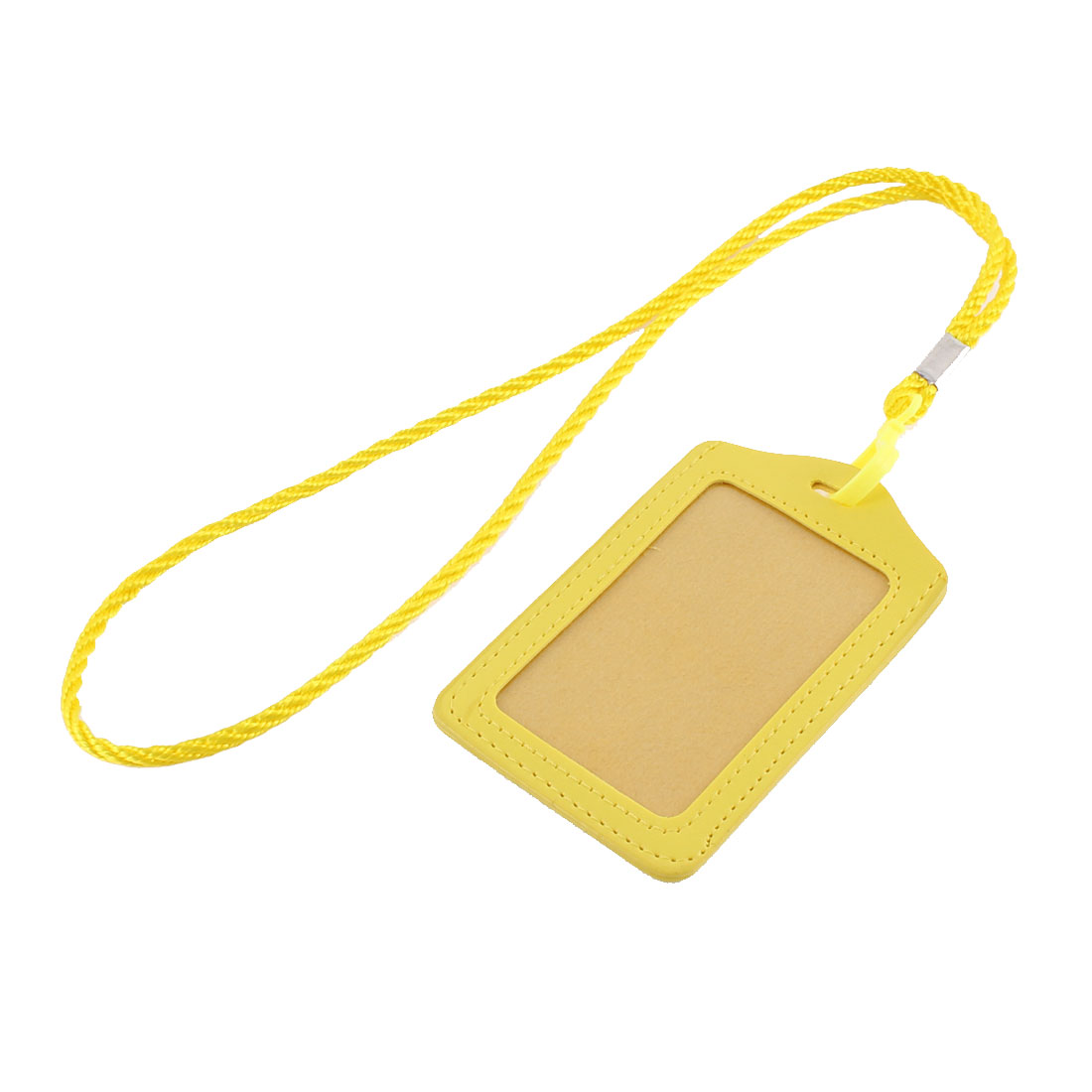 Faux Leather Lanyard Vertical Office Name ID Card Badge Holder Container Yellow
