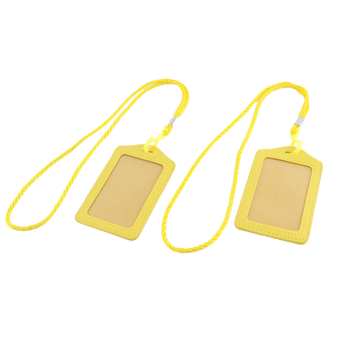 Faux Leather Lanyard Vertical Office Name ID Card Badge Holder Container Yellow 2pcs