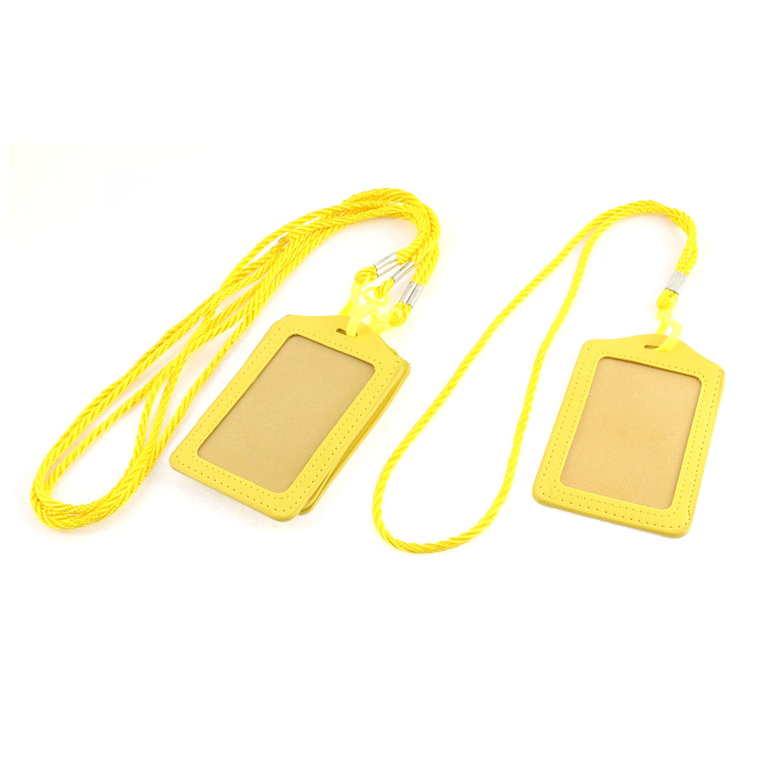 Faux Leather Lanyard Vertical Office Name ID Card Badge Holder Container Yellow 4pcs