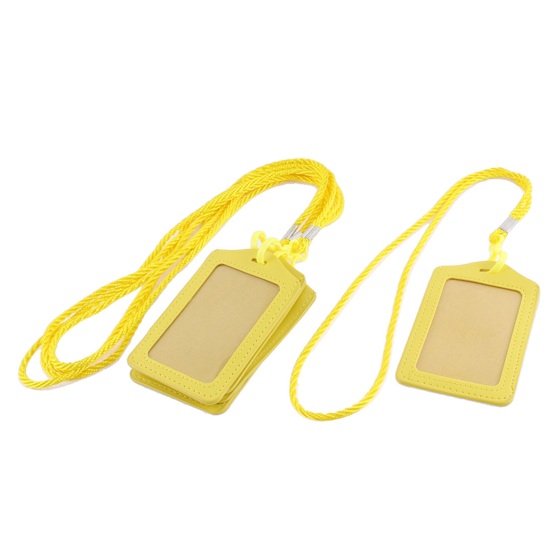 Lanyard Vertical Office Name ID Card Badge Holder Container Yellow 5pcs