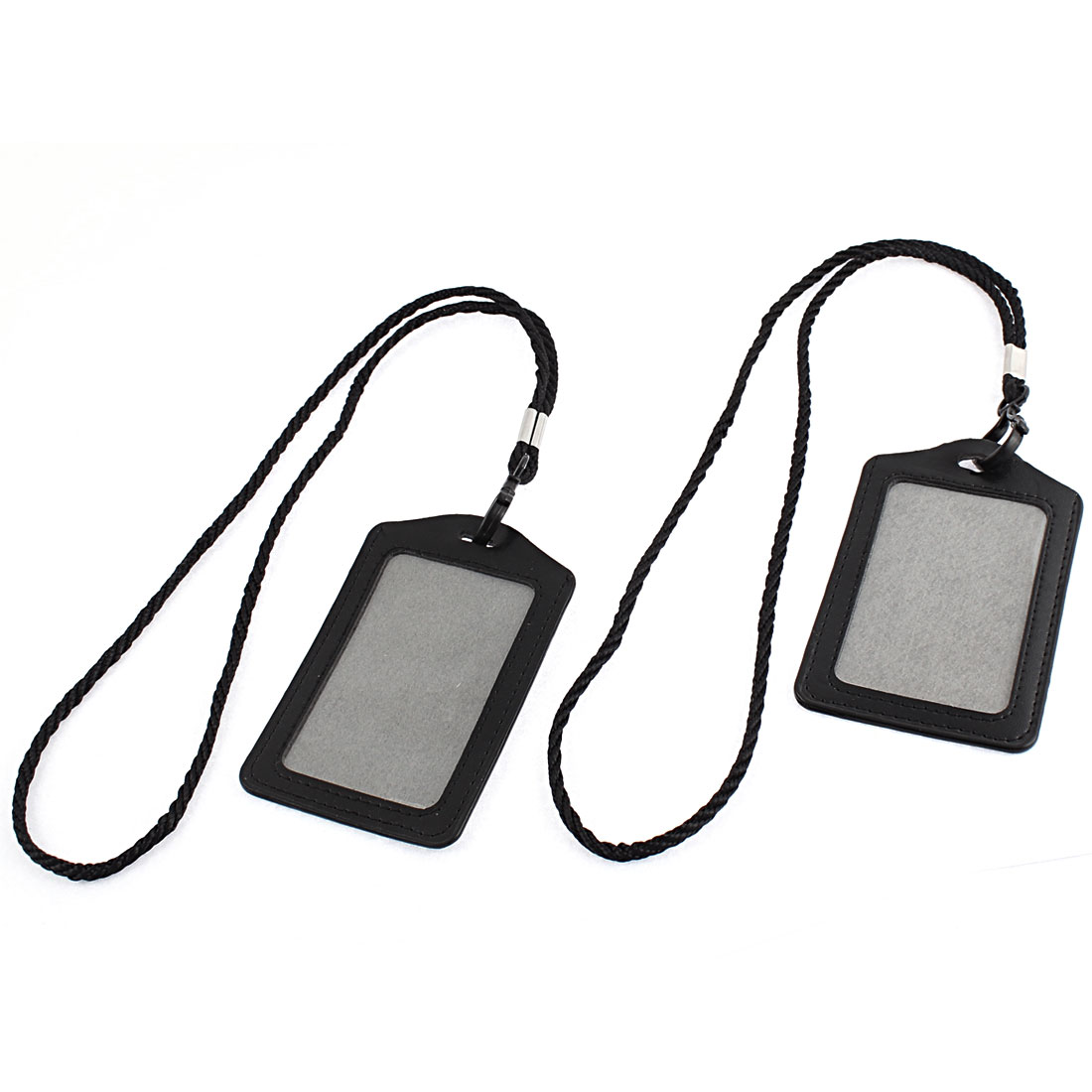 Faux Leather Vertical Design Lanyard Company Name Badge Card Holder Black 2pcs