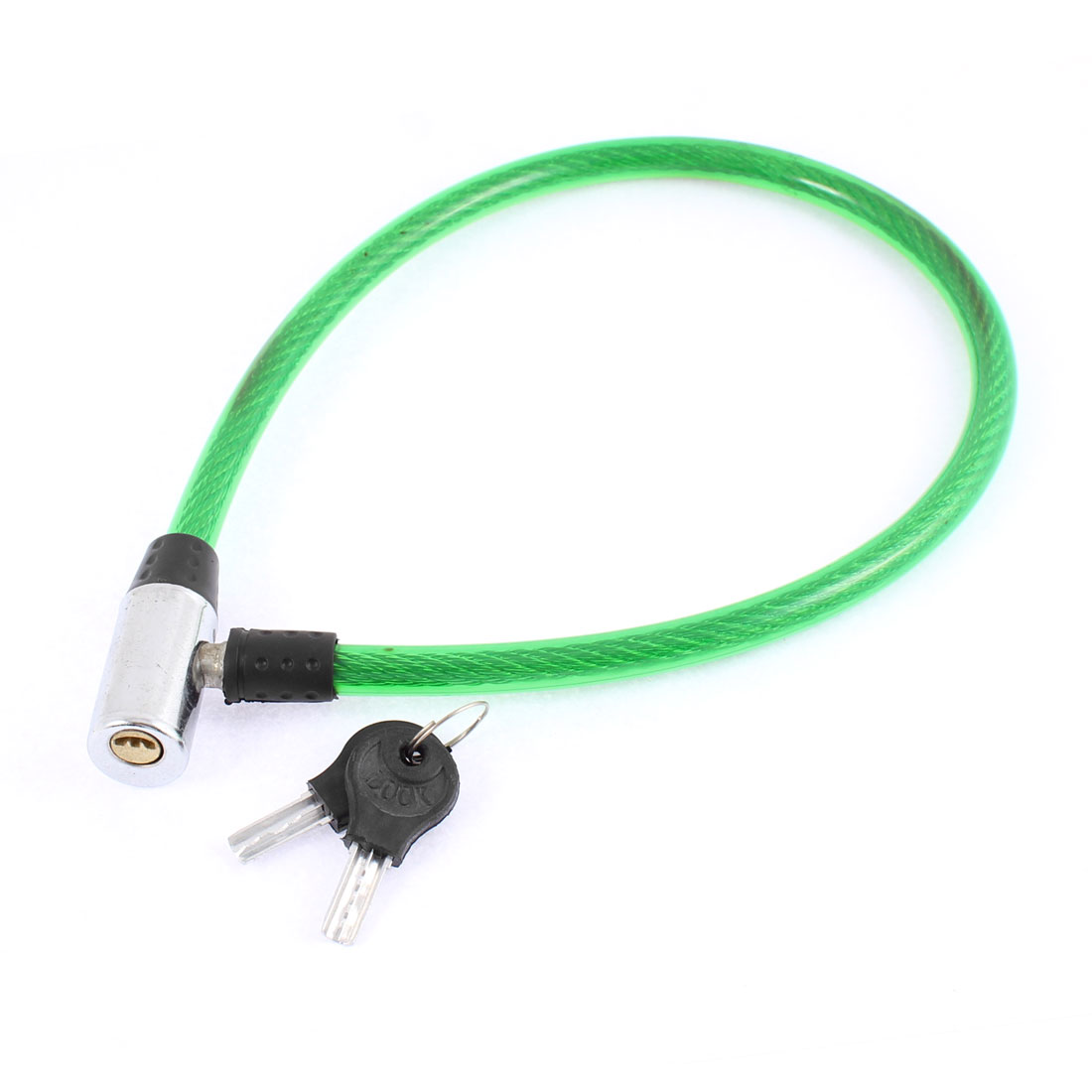 "Bike Bicycle Motorcycle Plastic Coated Security Cable Lock 25"" Length Green"
