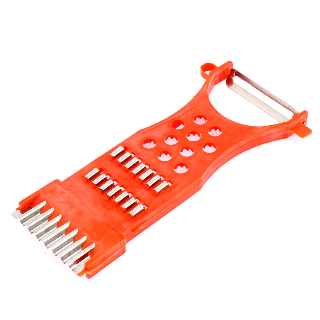 Housewife Plastic Multi-Purpose Potato Carrot Radish Grater Peeler Orange Red