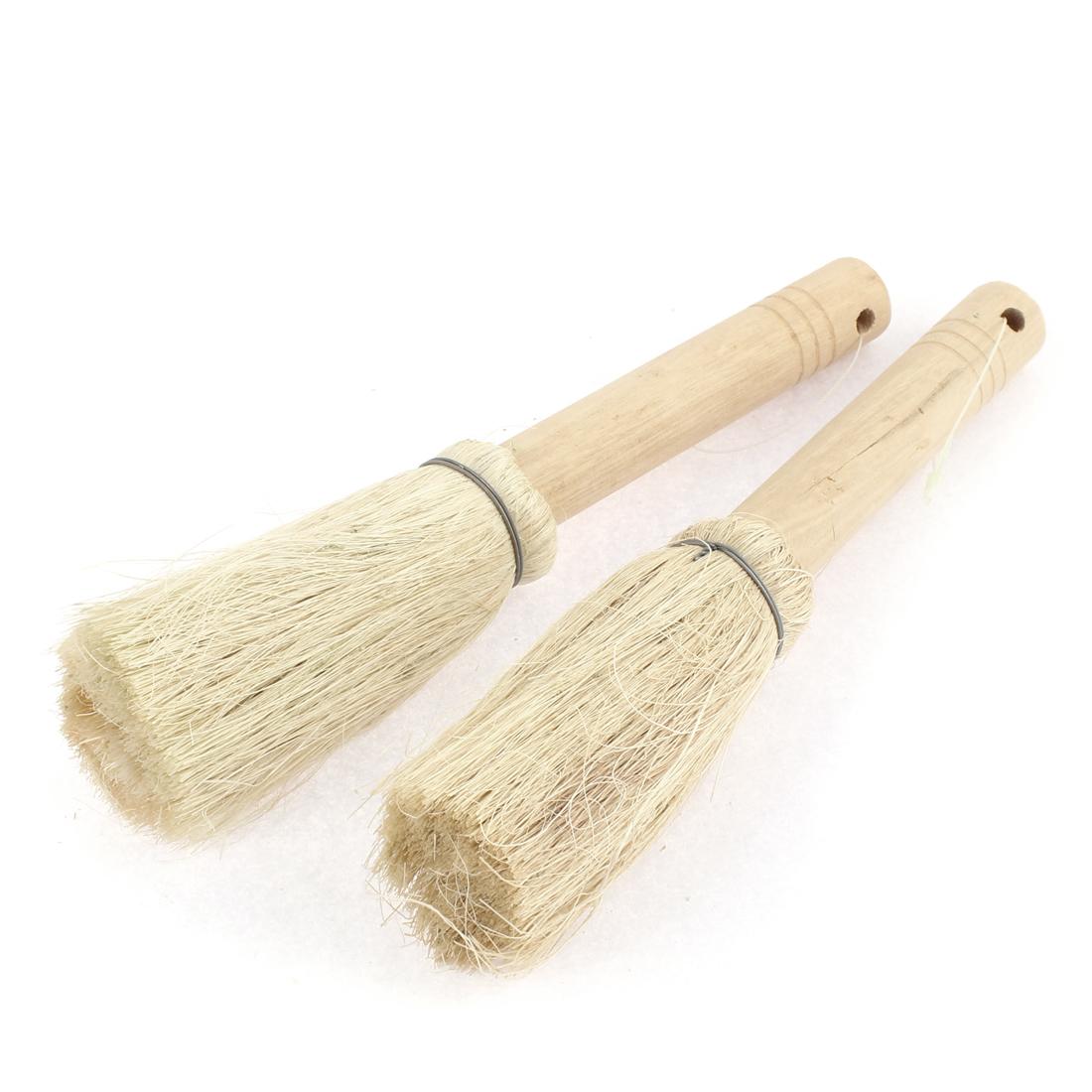 Kitchen Pot Pan Bowl Plate Wooden Handle Bristle Scrubber Brush Cleaner 2pcs