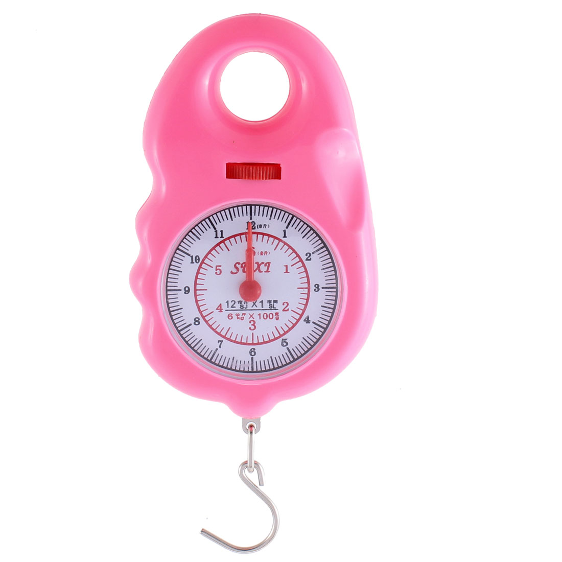 Round Dial Arabic Number Display Portable Scale Weighter 6Kg Pink