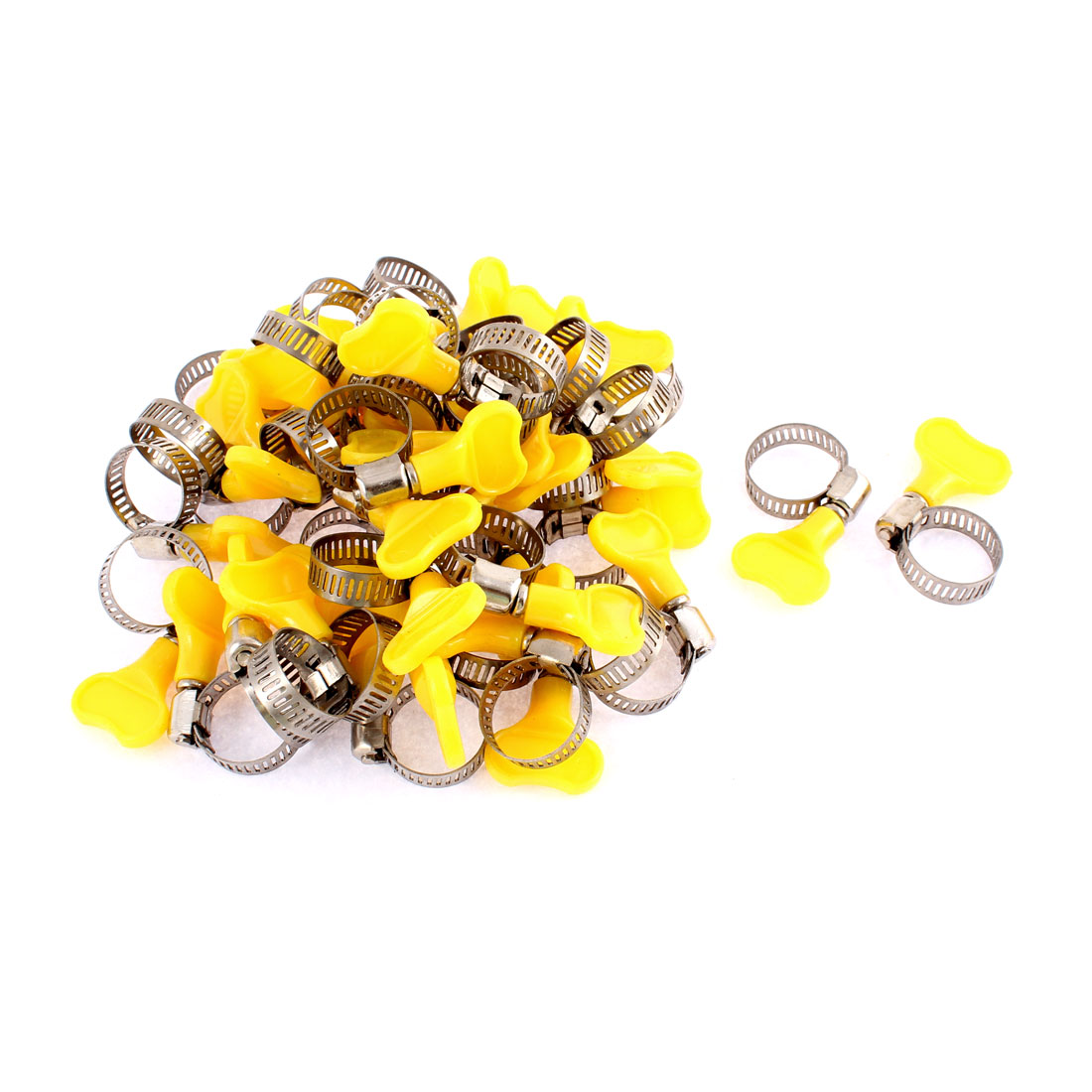 Adjustable 13-19mm Clamping Range 8mm Band Width Worm Drive Hose Clamps 40Pcs