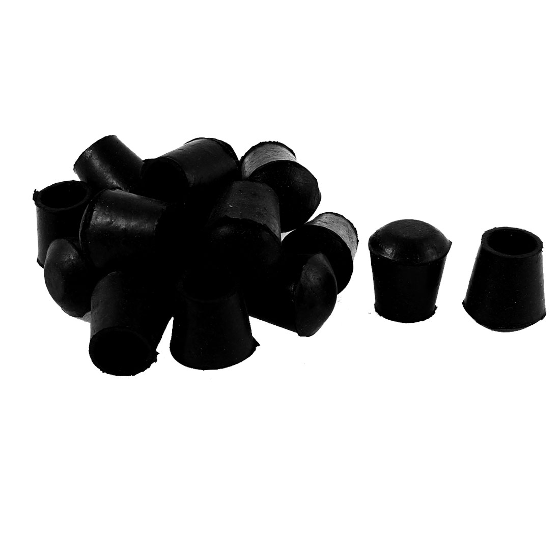 Furniture Feet Protector Chair Leg Tips Covers Black 16mm Inner Dia 20pcs