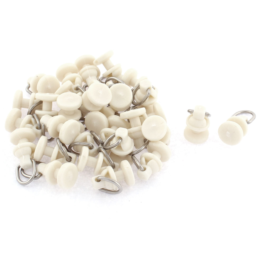 Plastic Curtain Mounting Track Carrier Roller 10mm Dia White 30 Pcs