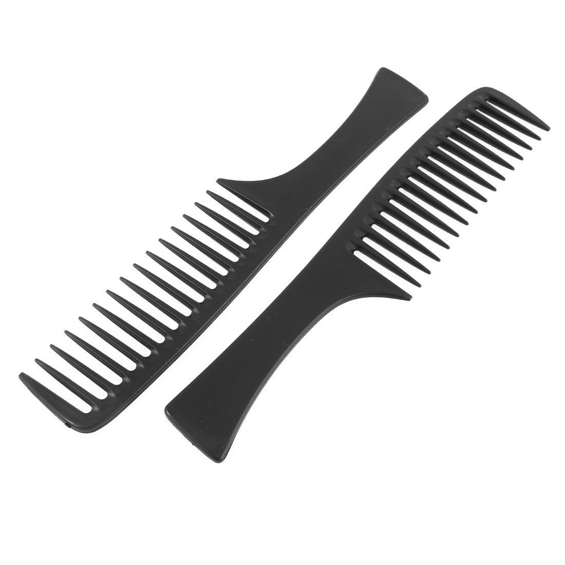 Plastic Wide Tooth Hairstyle DIY Hair Care Handgrip Comb Black 2Pcs