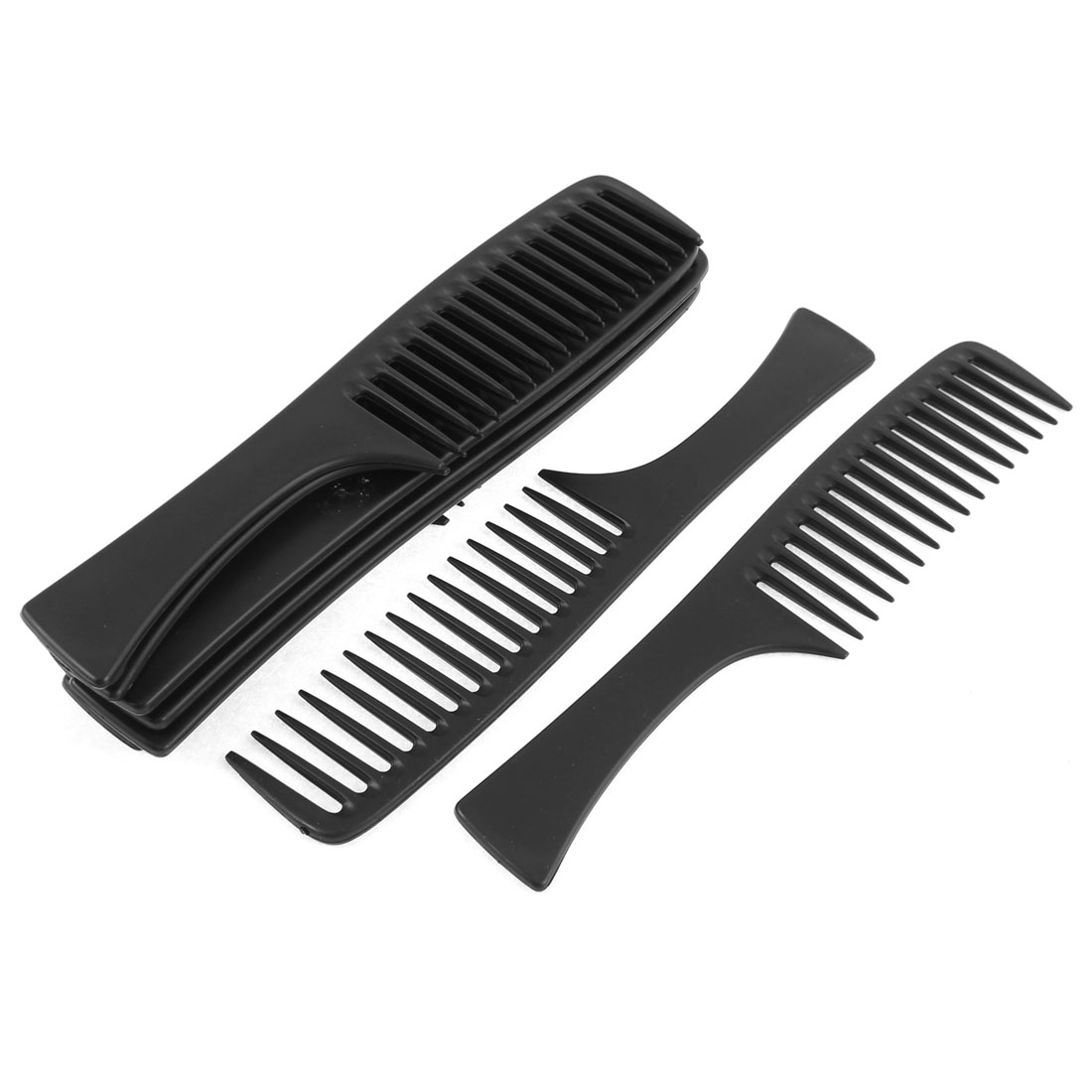 Plastic Antic Static Wide Tooth Hair Care Handgrip Combs Black 10Pcs