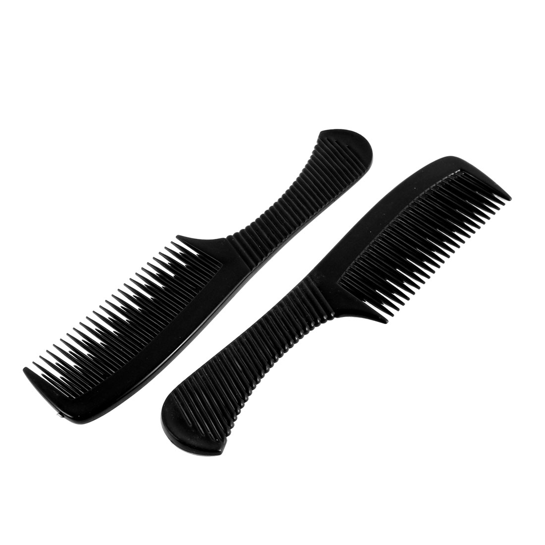 Household Salon Hairdressing Black Plastic Hair Comb 2 Pcs