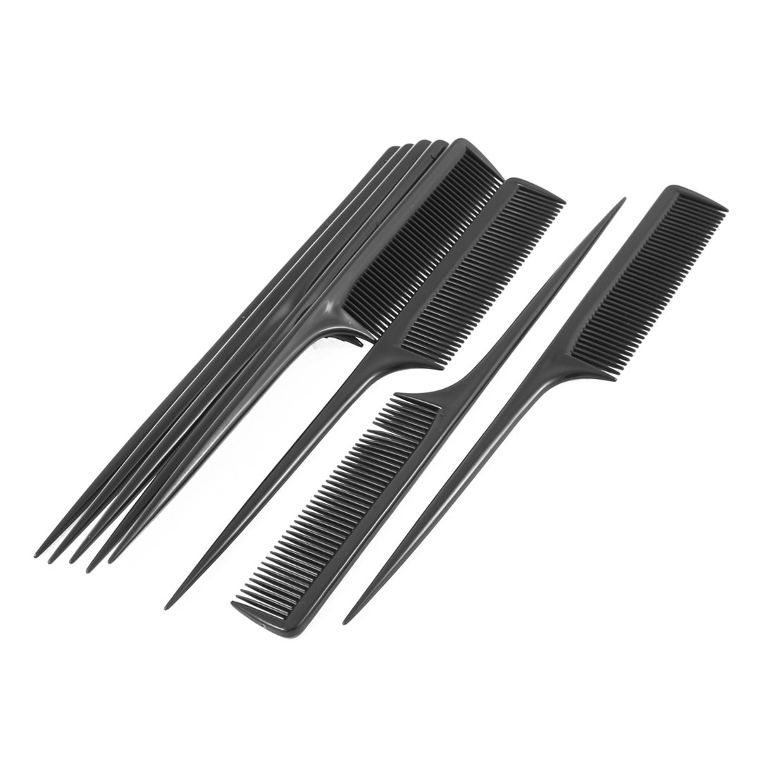 Plastic Handgrip Hair Rat Tail Combs Black 8Pcs