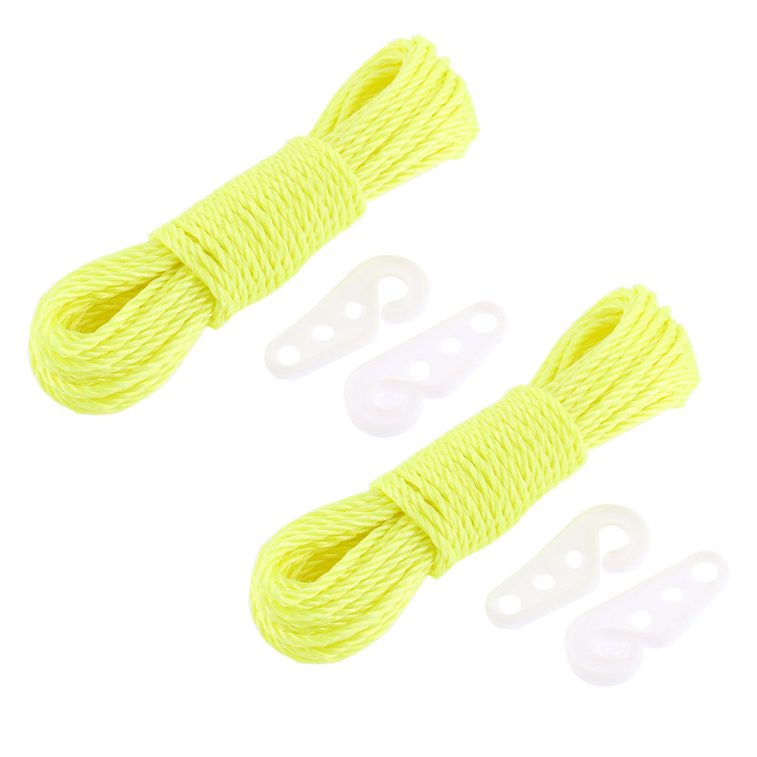 Nylon Clothesline Clothes Rope 10M 33Ft Long Yellow 2 Pcs