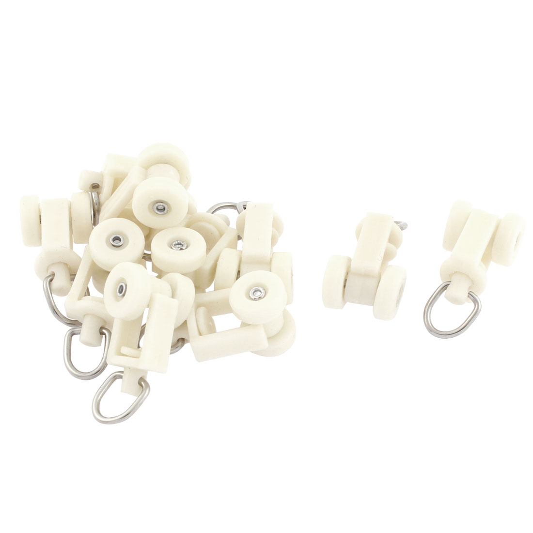 Home Plastic Curtain Track Carrier Roller 11mm Dia Wheel White 10 Pcs