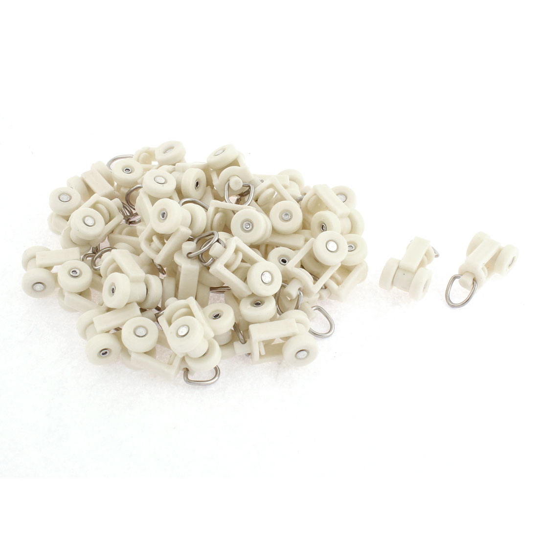 Plastic Curtain Track Carrier Slide Roller 11mm Dia Wheel White 40 Pcs