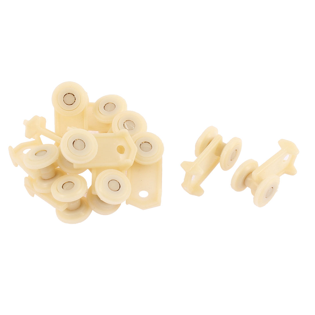 Plastic Curtain Track Rail Roller Carrier Beige 10 Pcs