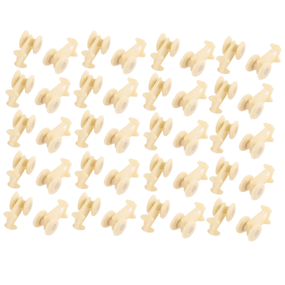 Plastic Curtain Track Rail Roller Carrier Beige 40 Pcs