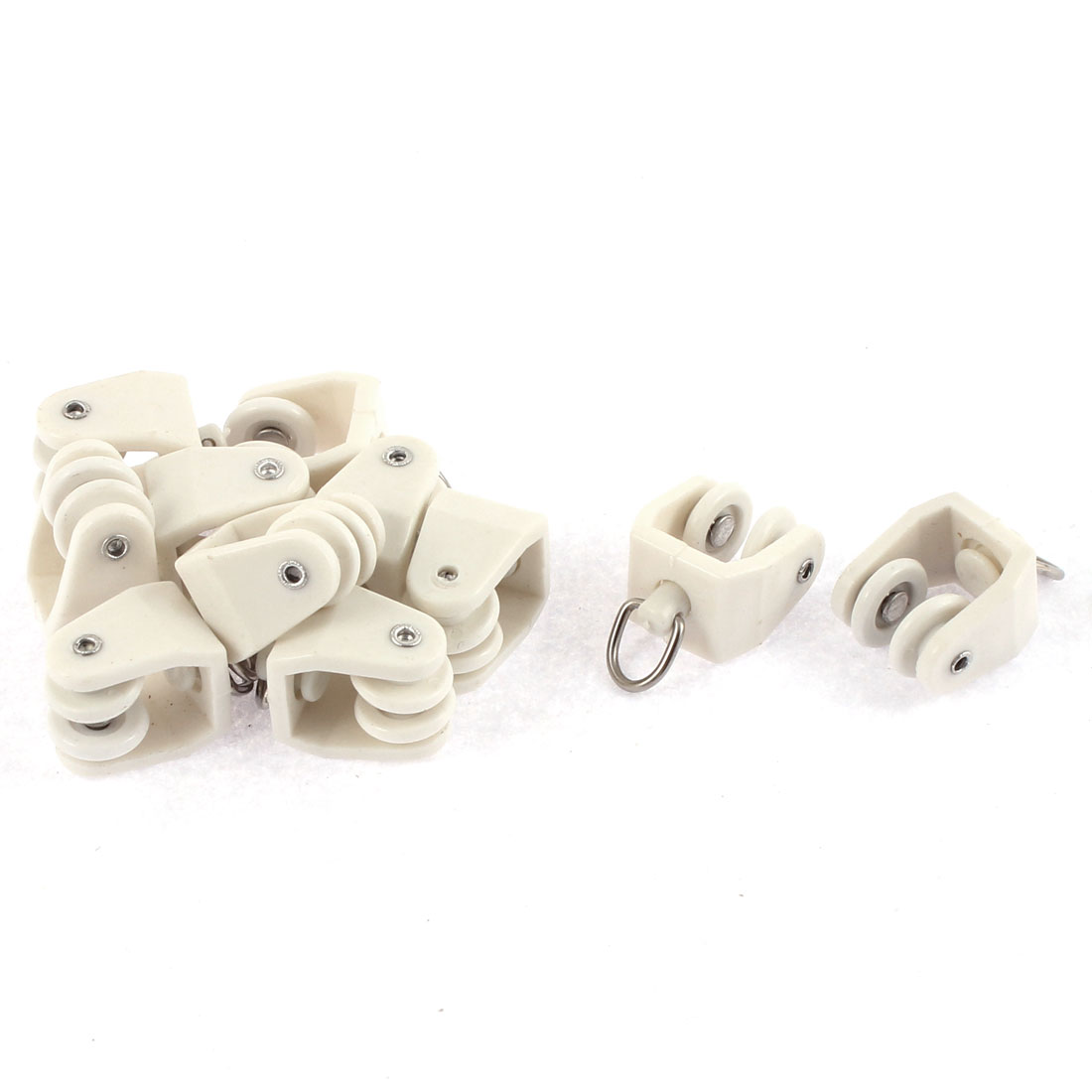 Plastic Swivel Eye Ring Curtain Track Rail Rollers Carrier White 10 Pcs