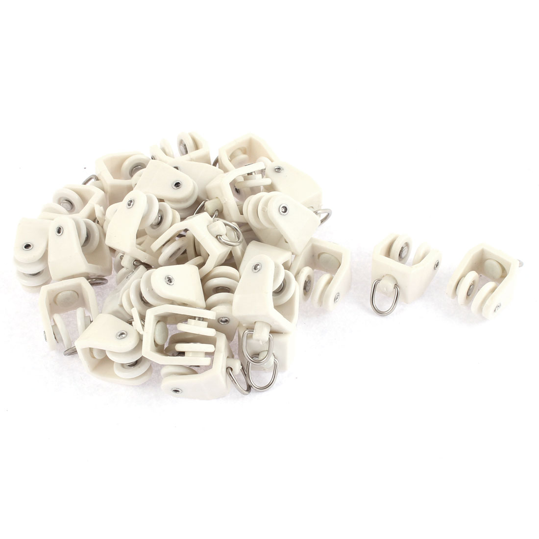 Plastic Swivel Eye Ring Curtain Track Rail Rollers Carrier White 30 Pcs