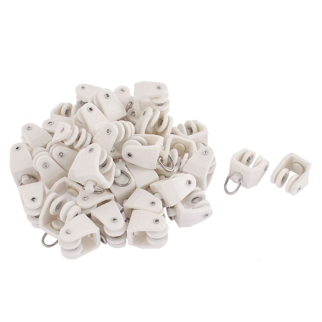 Plastic Swivel Eye Ring Curtain Track Rail Rollers Carrier White 40 Pcs