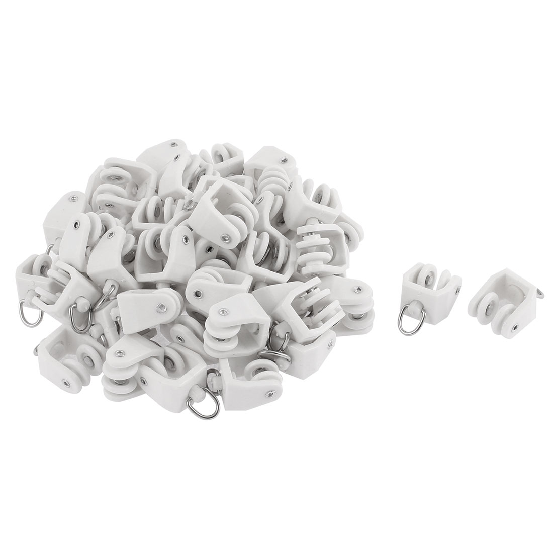 Plastic Swivel Eye Ring Curtain Track Rail Rollers Carrier White 50 Pcs