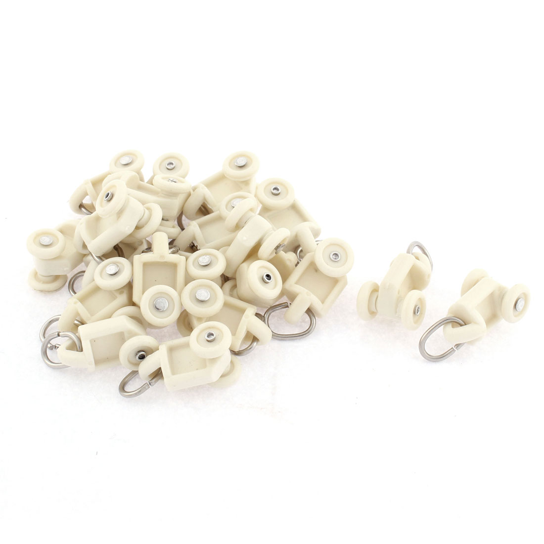 Home Plastic Curtain Track Carrier Roller 10mm Dia Wheel Beige 20 Pcs