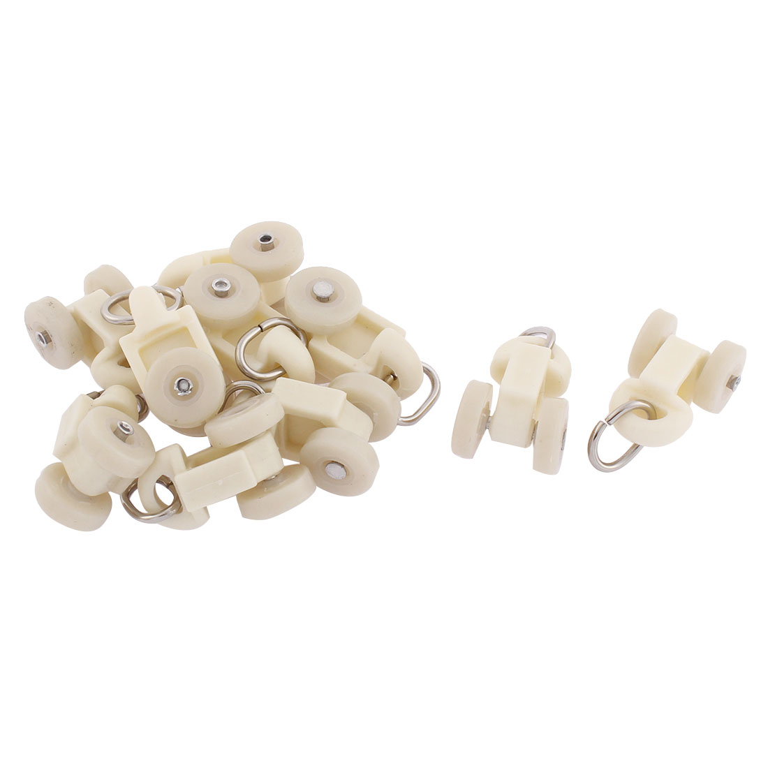 Home Plastic Curtain Track Carrier Roller 14mm Dia Wheel White 10 Pcs