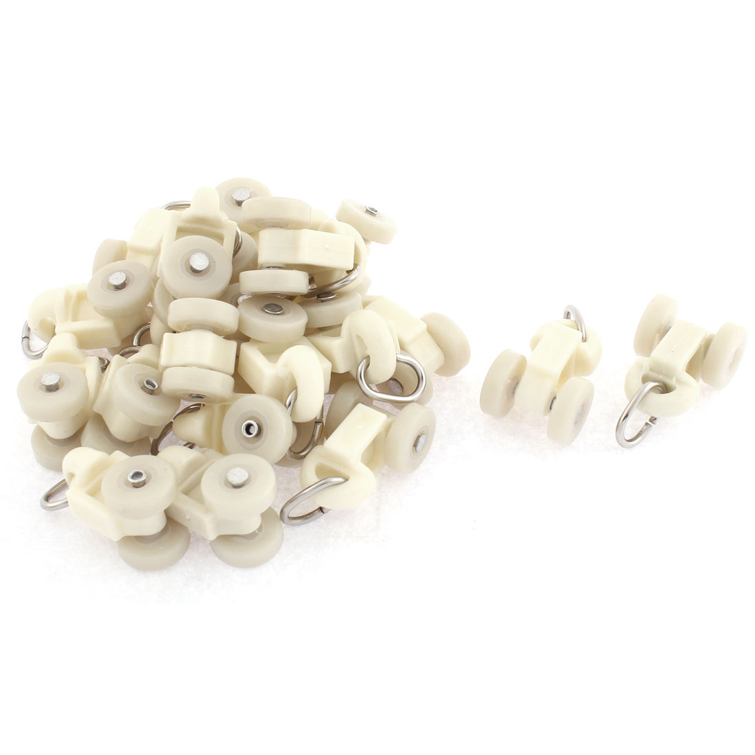 Household Plastic Curtain Track Carrier Roller 14mm Dia Wheel White 20 Pcs