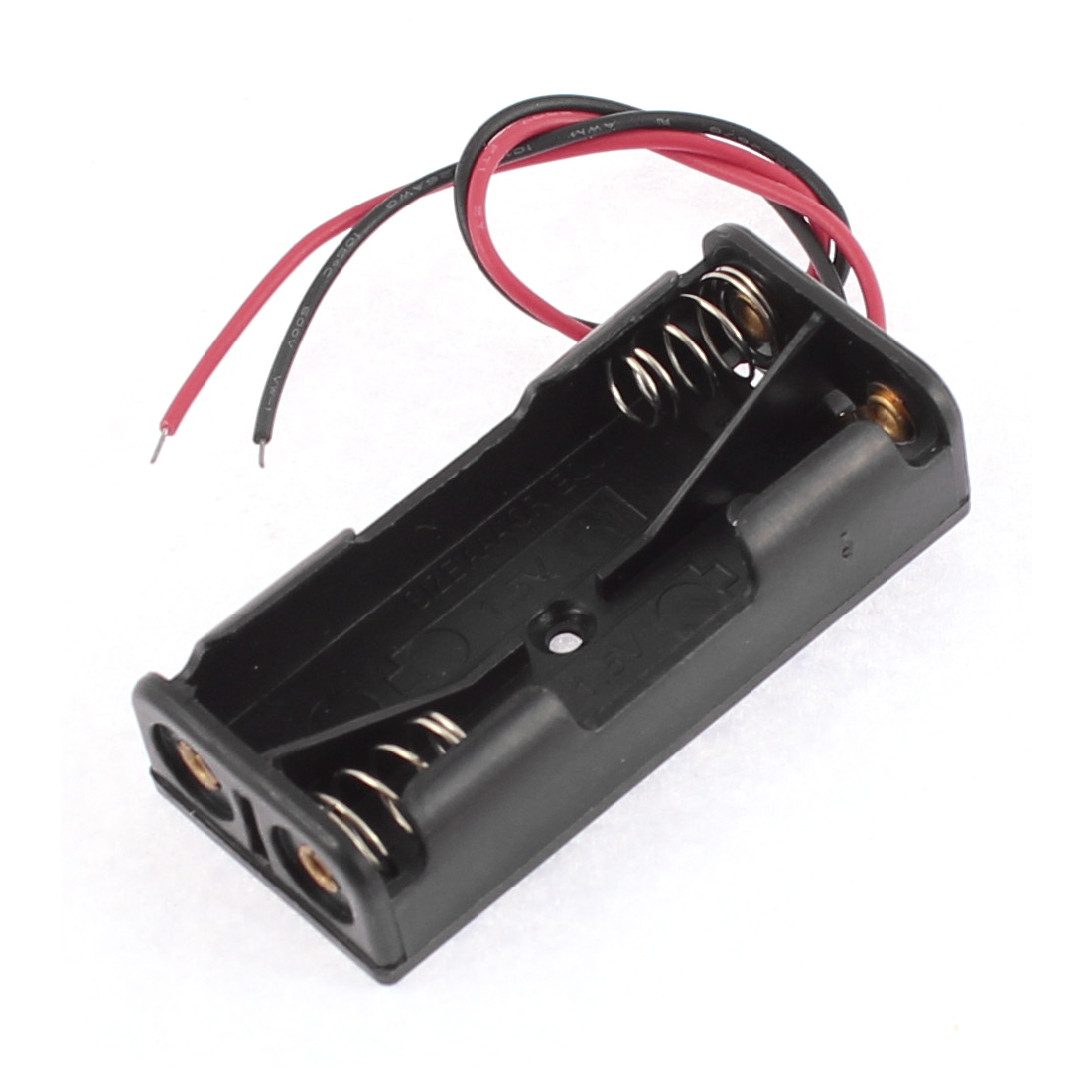 Black Plastic 2 x 1.5V AAA Wire Lead Battery Holder Case for DIY Experiment Test