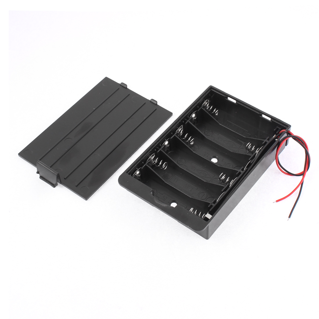 Black Plastic 6 x 1.5V AA Wire Lead Battery Holder Case for DIY Experiment Test