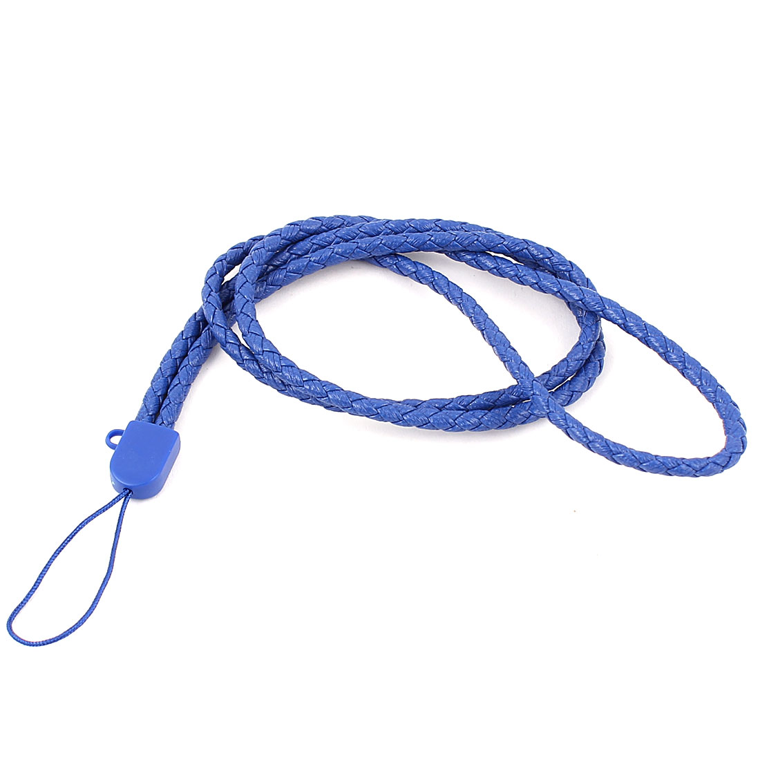 Mobile Cell Phone MP5 Faux Leather Braided Neck Strap Cord Lanyard Royal Blue