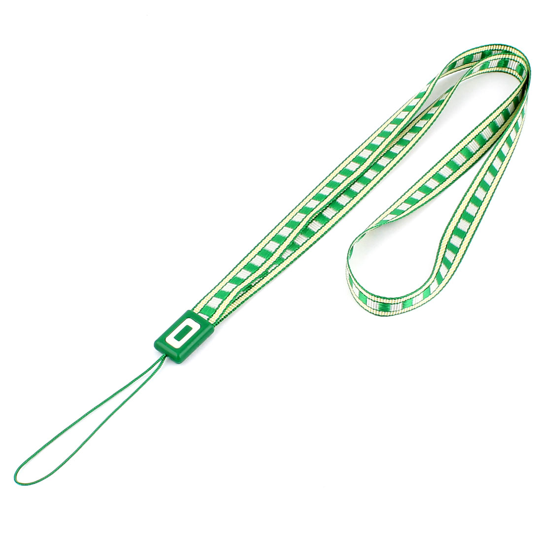 "Cell Phone MP4 Badge Nylon Plaid Print Neck Strap Cord Lanyard 30"" Girth Green"