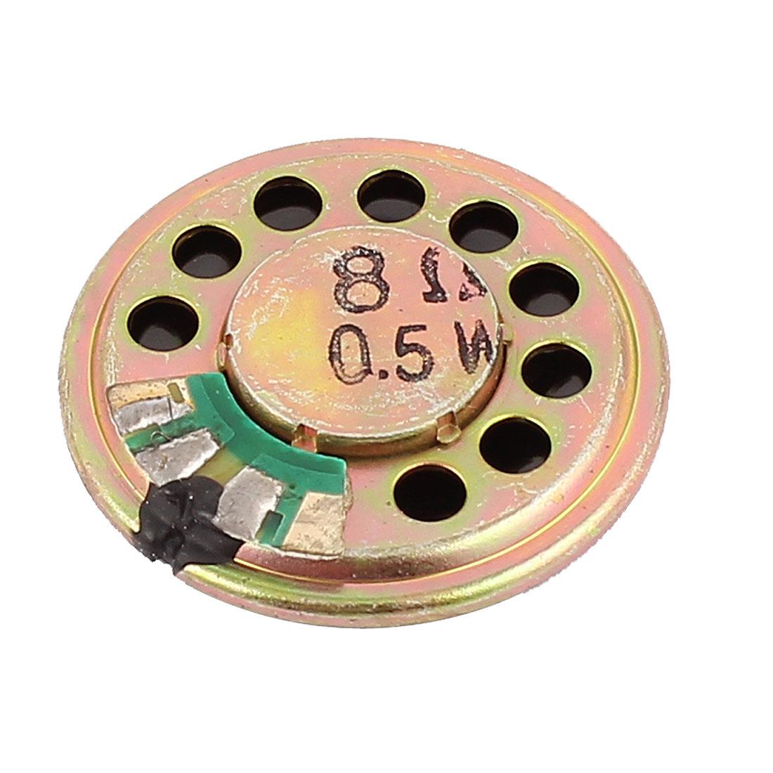 30mm Dia 8 Ohm 0.5W Aluminum Shell Internal Magnet Speaker Loudspeaker Gold Tone