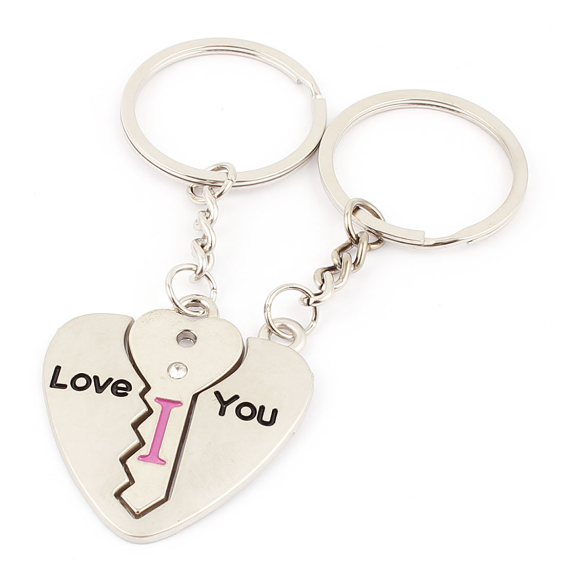 Words Pattern Heart Shape Dangle Couples Lover Keyring Keychain Silver Tone Pair