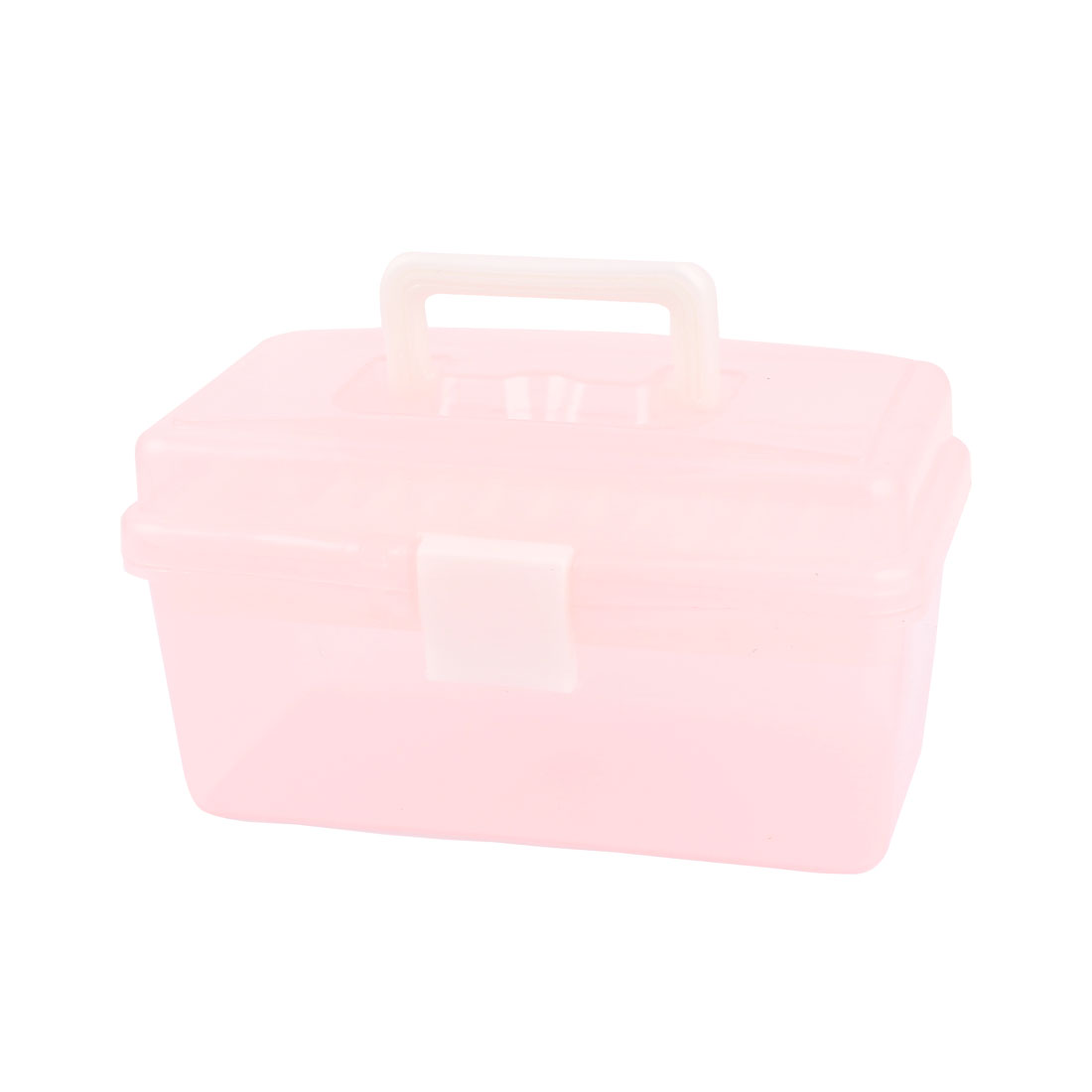 Plastic Rectangle Shaped Double Layers Storage Box Holder Case Pink