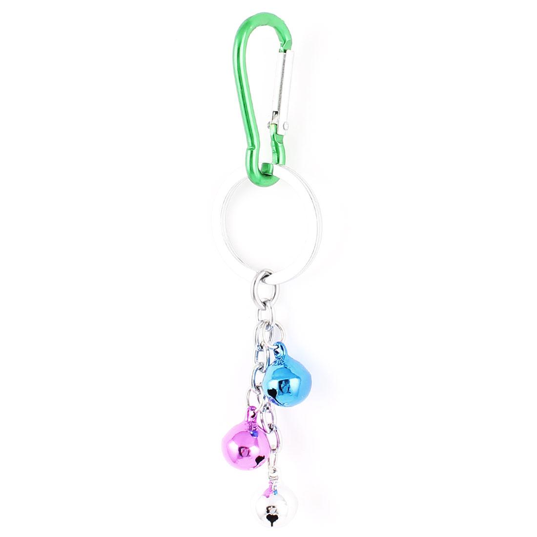 Carabiner Hook 3 Bells Pendant Key Ring Holder Keychain Keyring Green