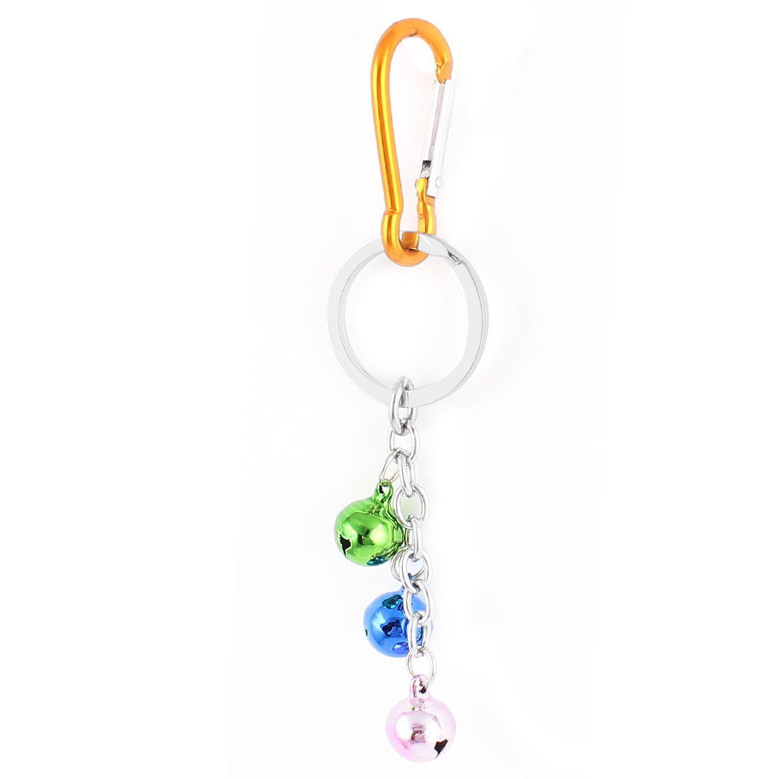 Carabiner Hook 3 Bells Pendant Key Ring Holder Keychain Keyring Orange