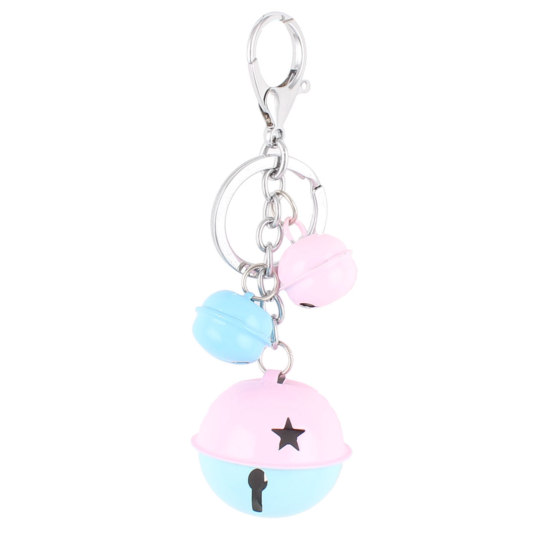 Bells Pendant Lobster Clasp Split Keyring Keychain Hanging Ornament Blue Pink
