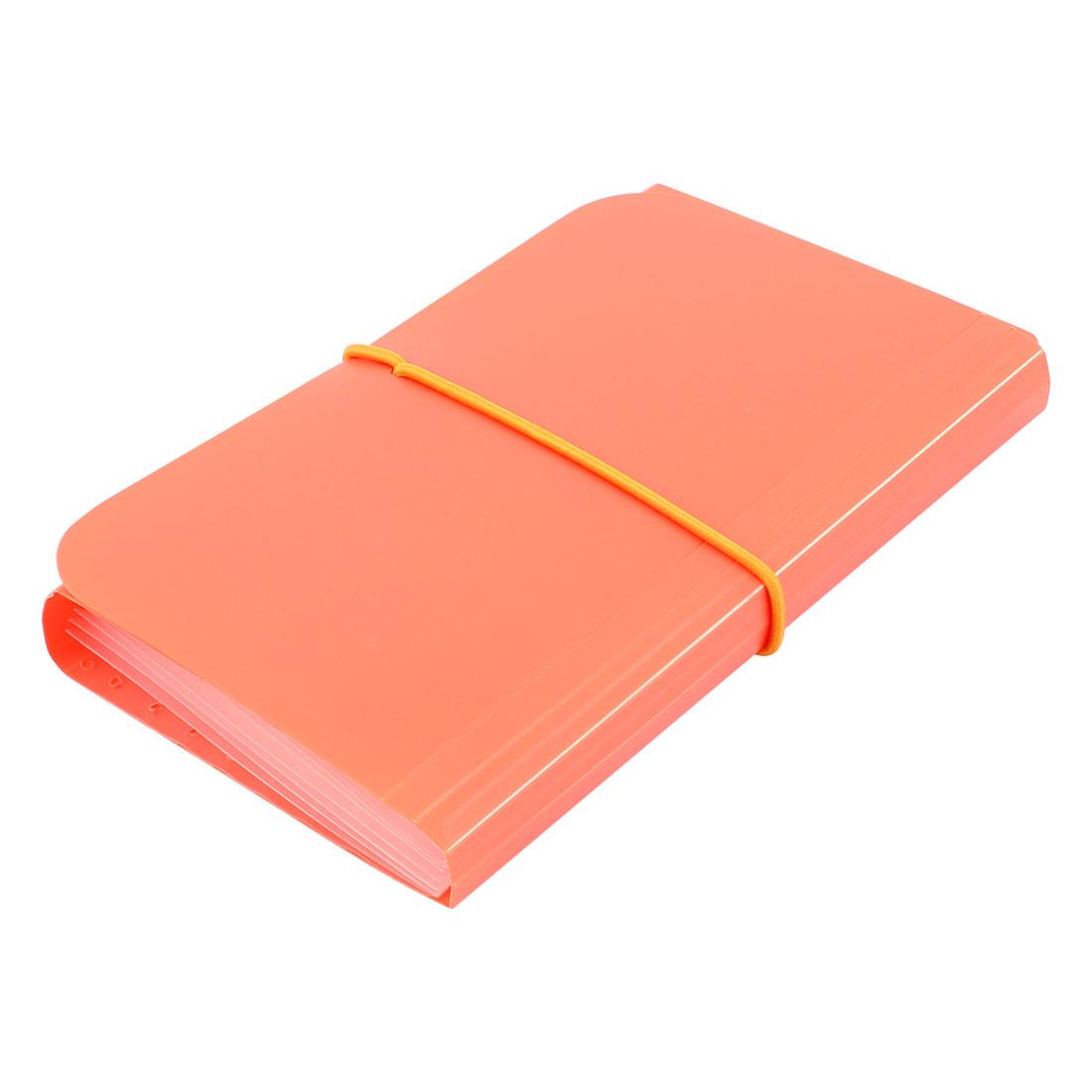 Elastic Drawstring 13 Pockets Paper Document Receipt Organizer File Holder Orange