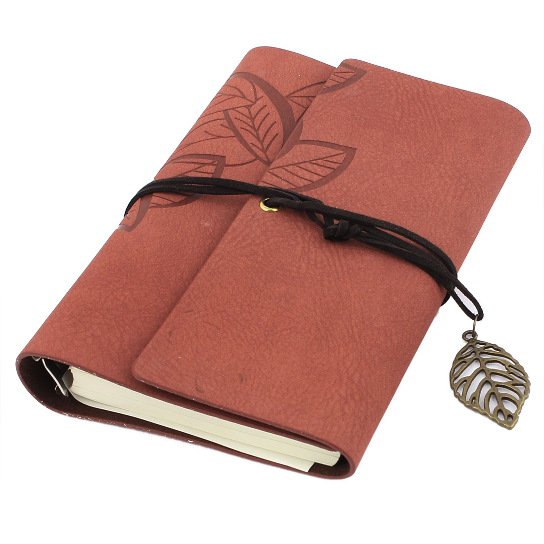 Leaf Pattern Cover Paper Diary Memo Notepad Notebook Brown 18.5 x 12cm