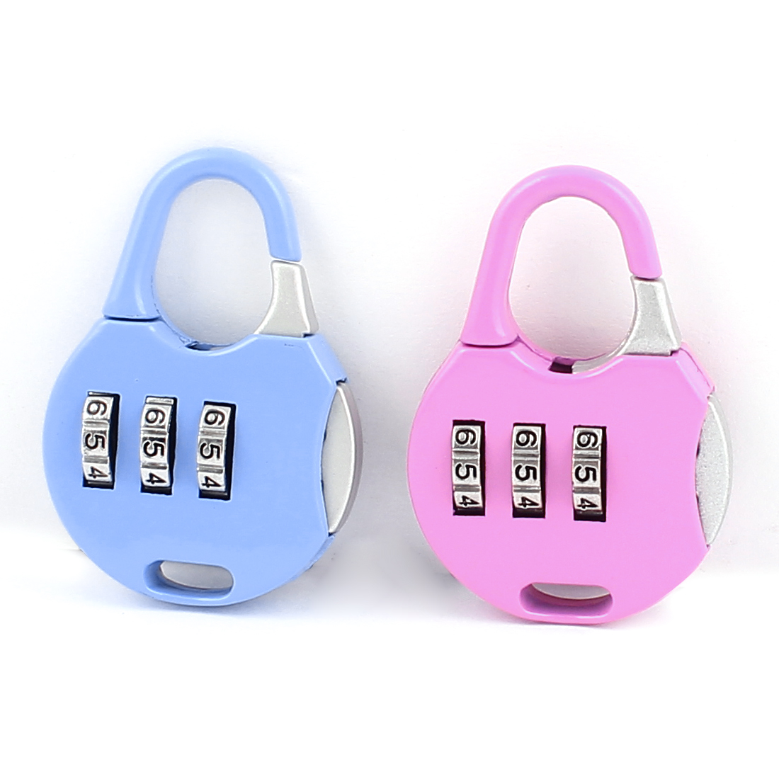 Handbag Shape 0-9 Number Combination Lock Padlock Blue Fuchsia 2Pcs