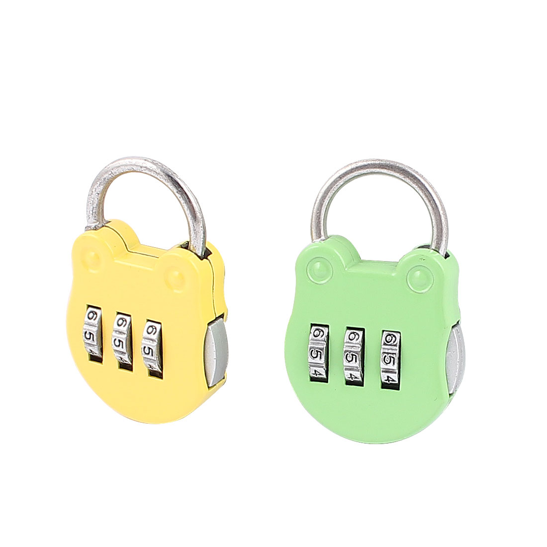 Handbag Shape 0-9 Number Combination Lock Padlock Yellow Green 2Pcs