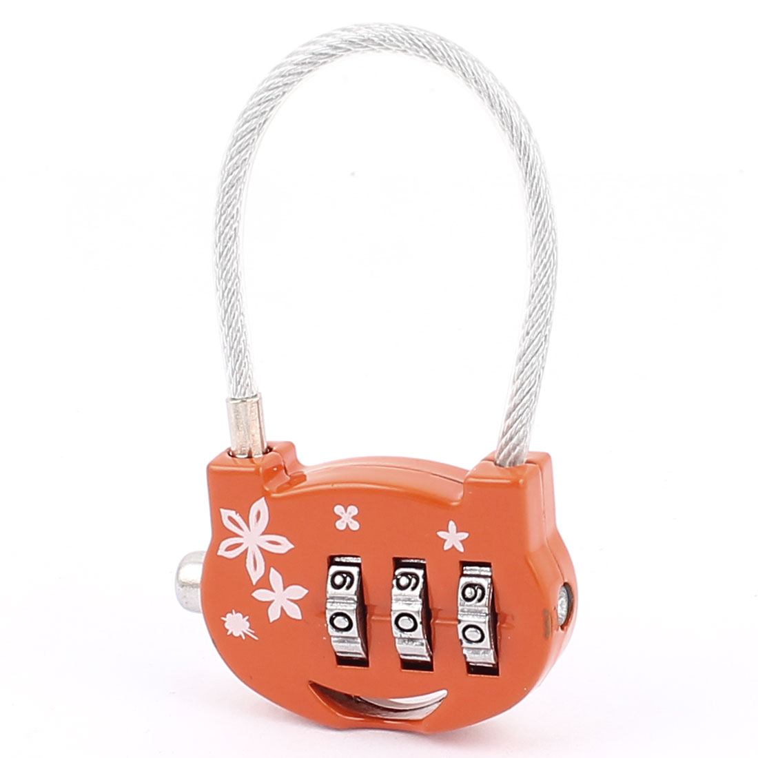 Flowers Printed 0-9 Number Resettable Combination Lock Padlock Orange