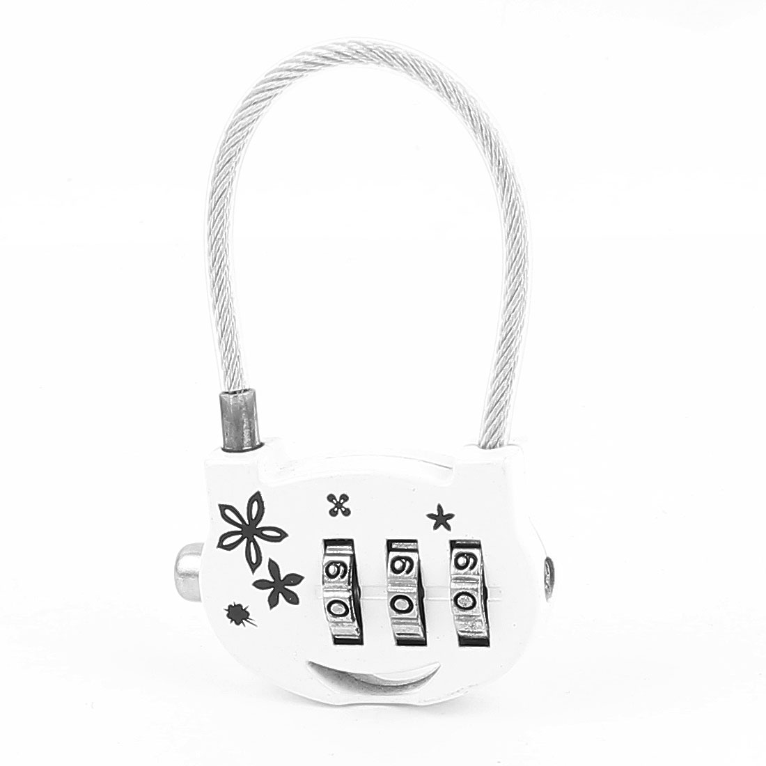 Flowers Printed 0-9 Number Resettable Combination Lock Padlock White