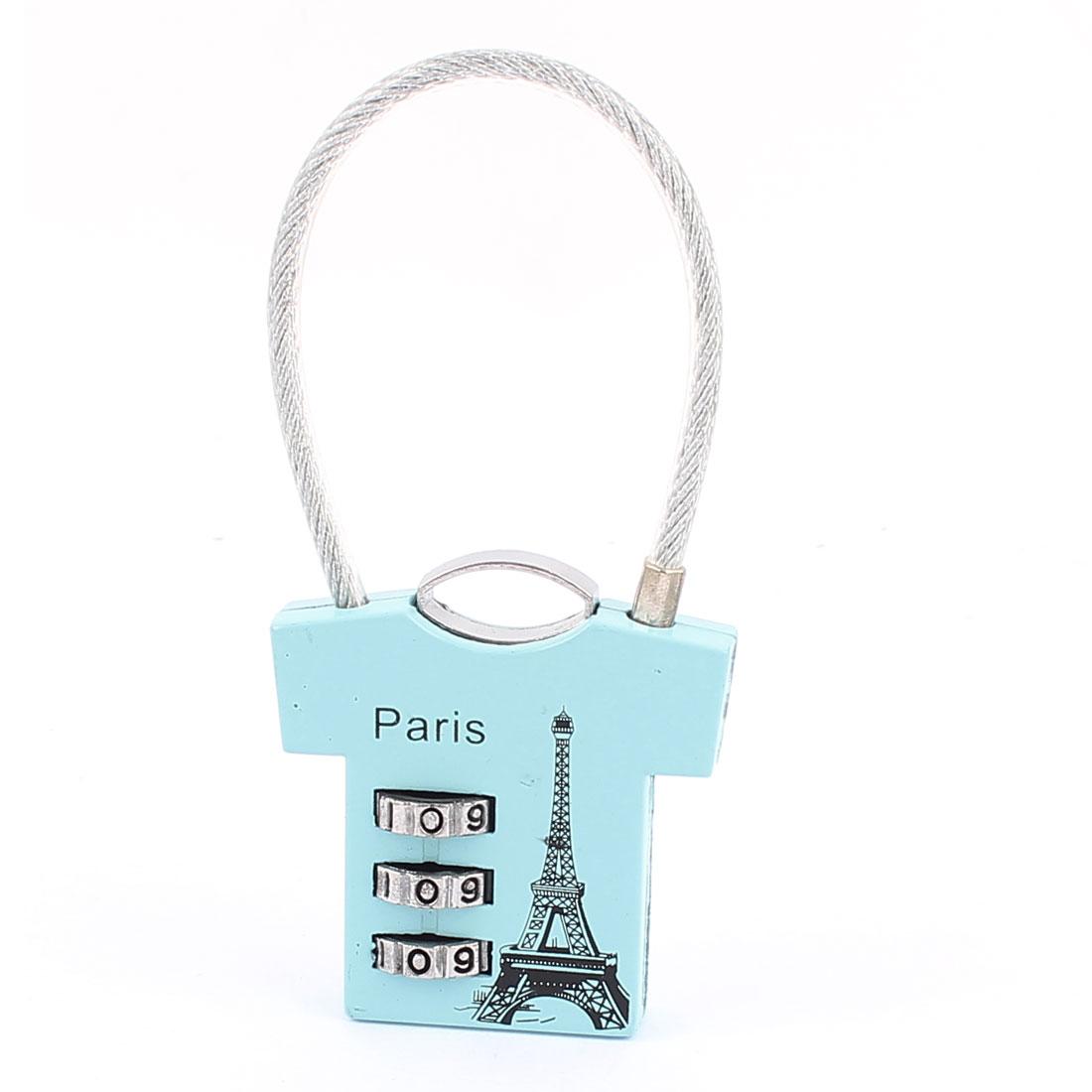 Eiffel Tower Printed 0-9 Number Resettable Combination Lock Padlock Blue