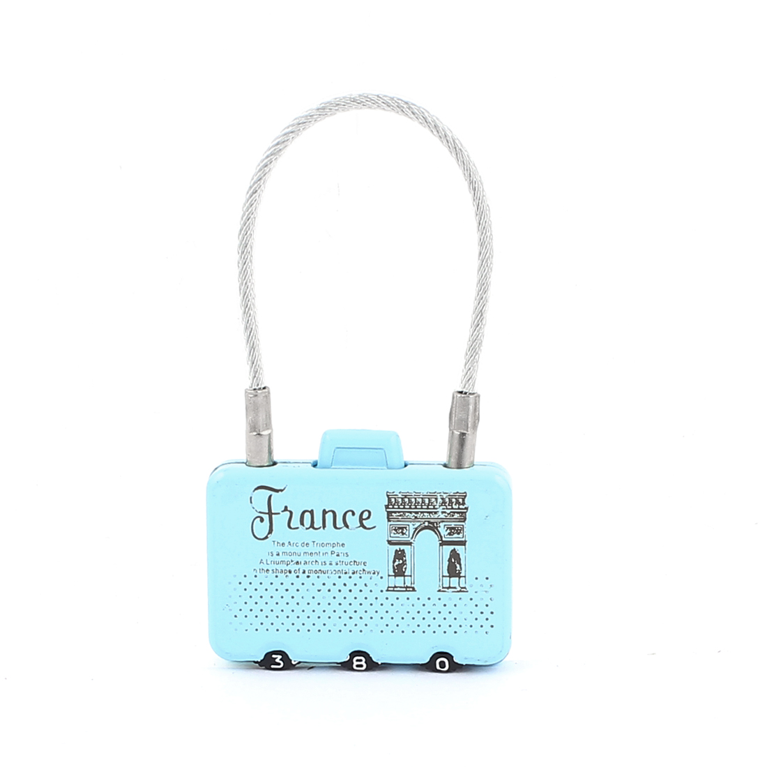 Triumphal Arch Printed 0-9 Number Resettable Combination Lock Padlock Blue