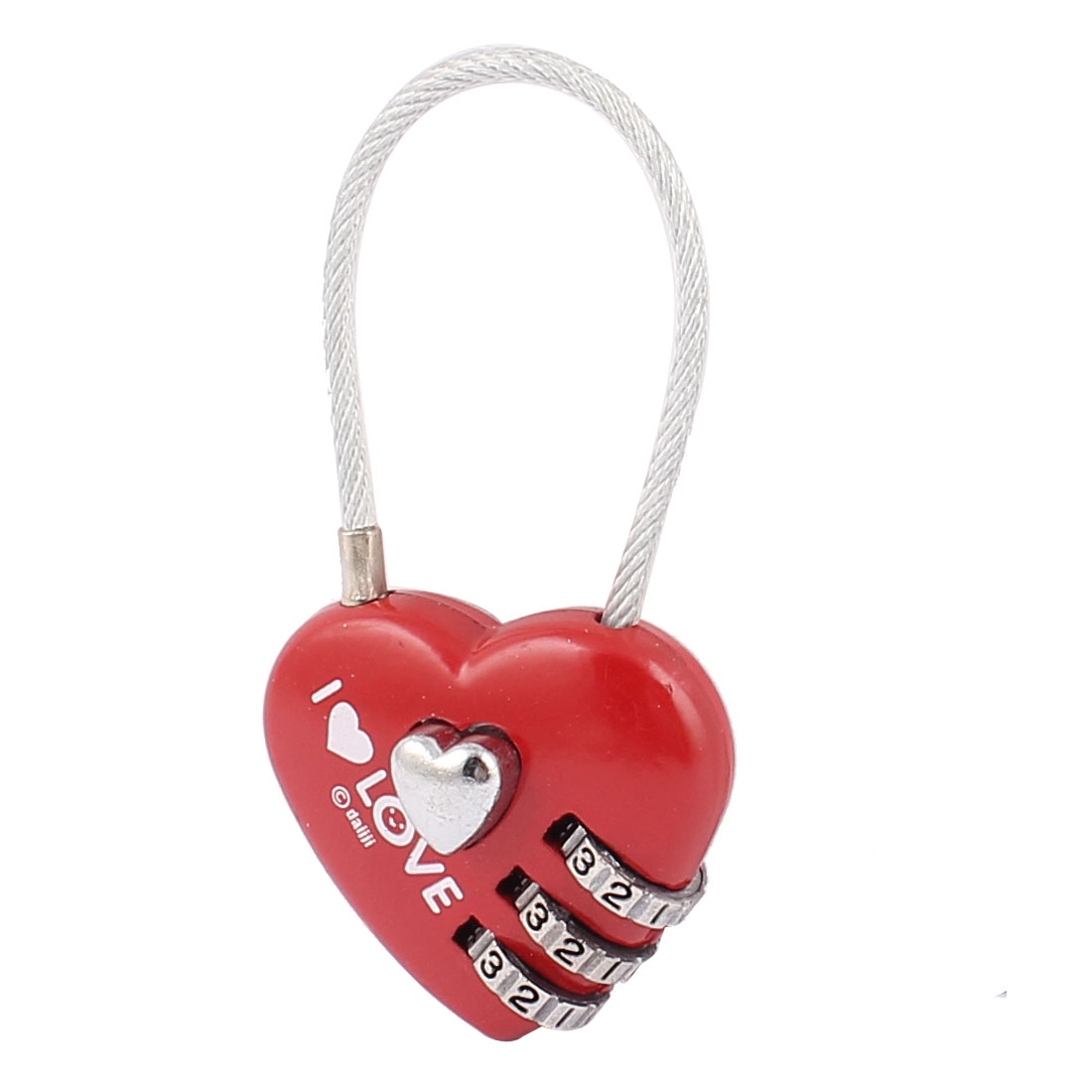 Heart Shape 0-9 Number Resettable Combination Lock Padlock Red