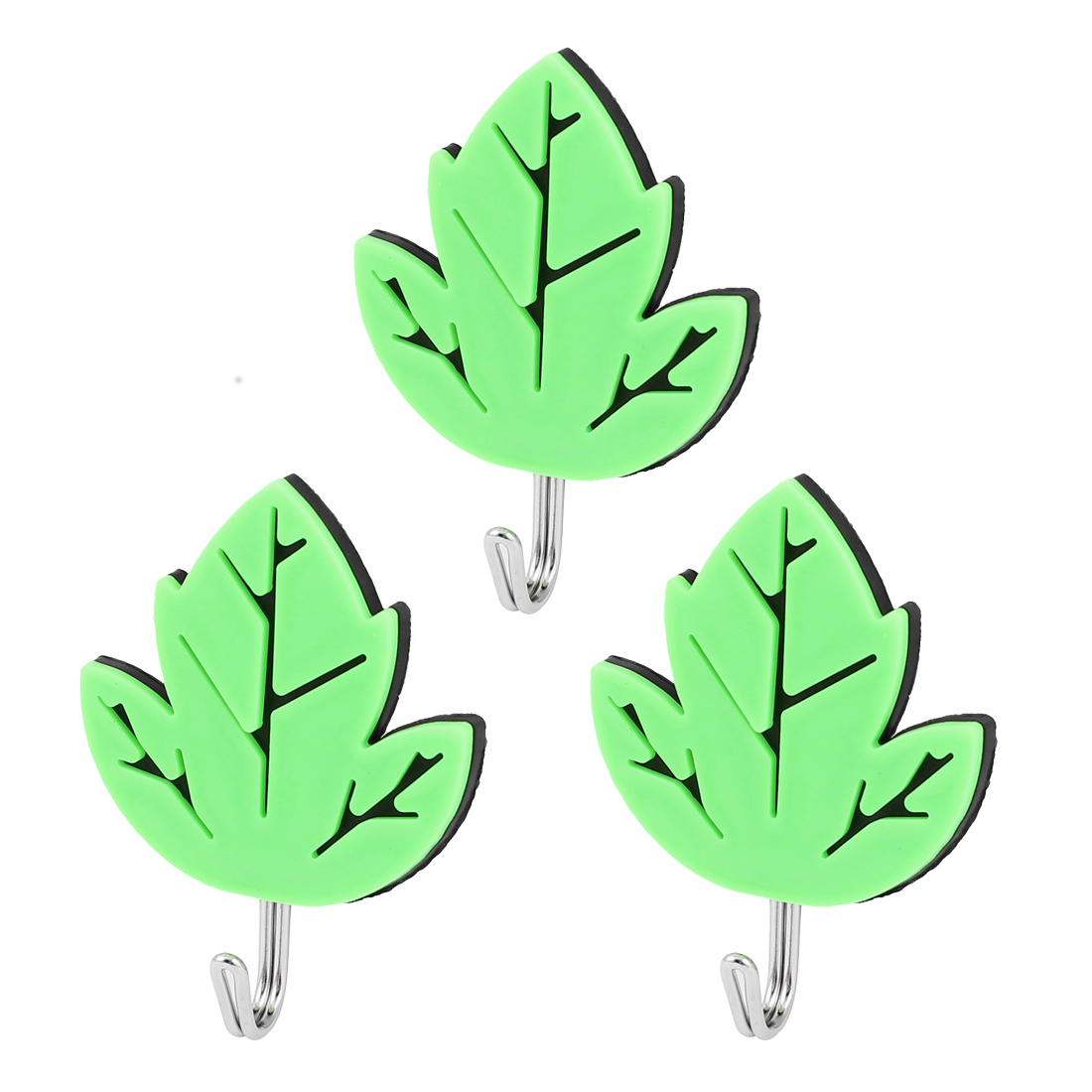 Leaf Shaped Sticky Self Adhesive Bathroom Kitchen Door Wall Hook 3Pcs