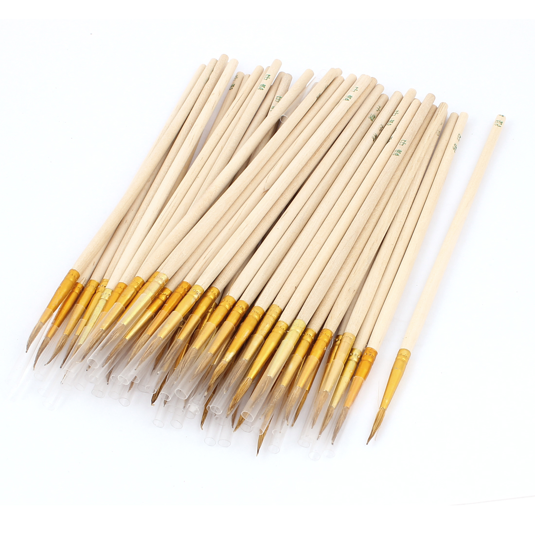Student Wooden Long Handle Round Pointed Tip Oil Painting Brush 50Pcs