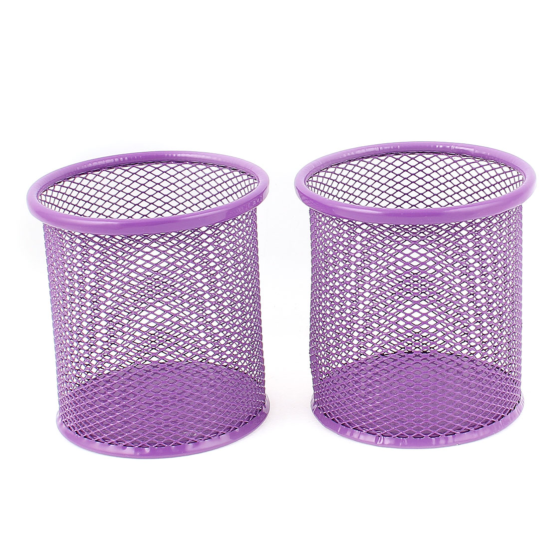 Metallic Mesh Cylinder Shaped Stationery Pen Holder Box Container Purple 2Pcs